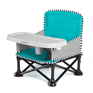 Summer Pop 'N Sit Portable Booster Seat in Aqua Sugar fashion on a white background